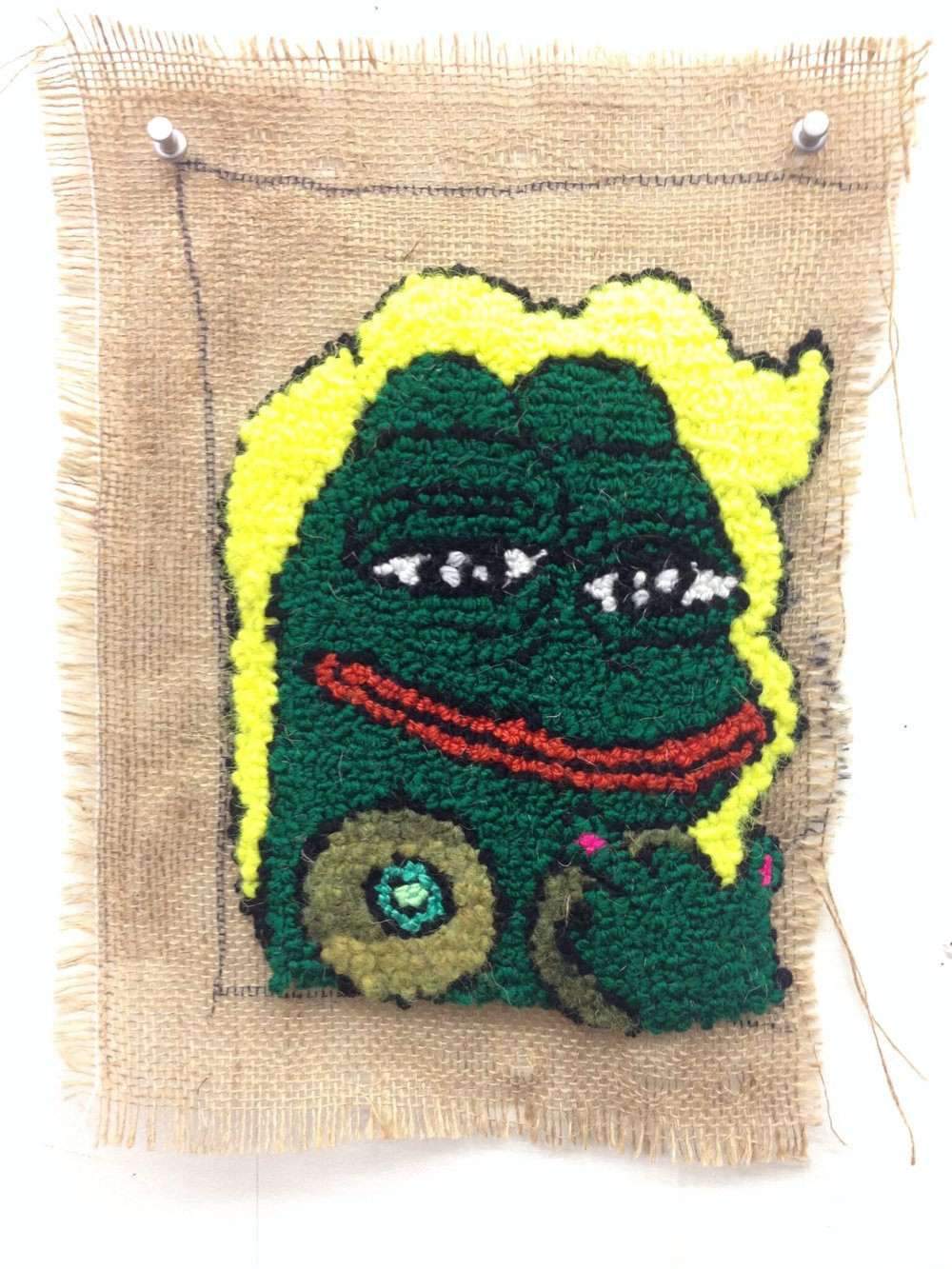 babe pepe  wool, acrylic, burlap  dimensions not recorded  2016