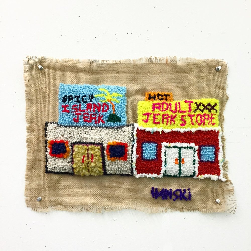 the jerk store called…  wool, acrylic, burlap  dimensions not recorded  2016