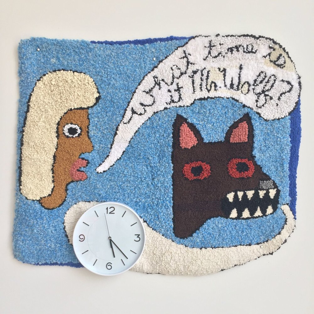 """what time is it Mr. wolf?  wool, acrylic, clock, burlap  33"""" X 39""""  2016"""