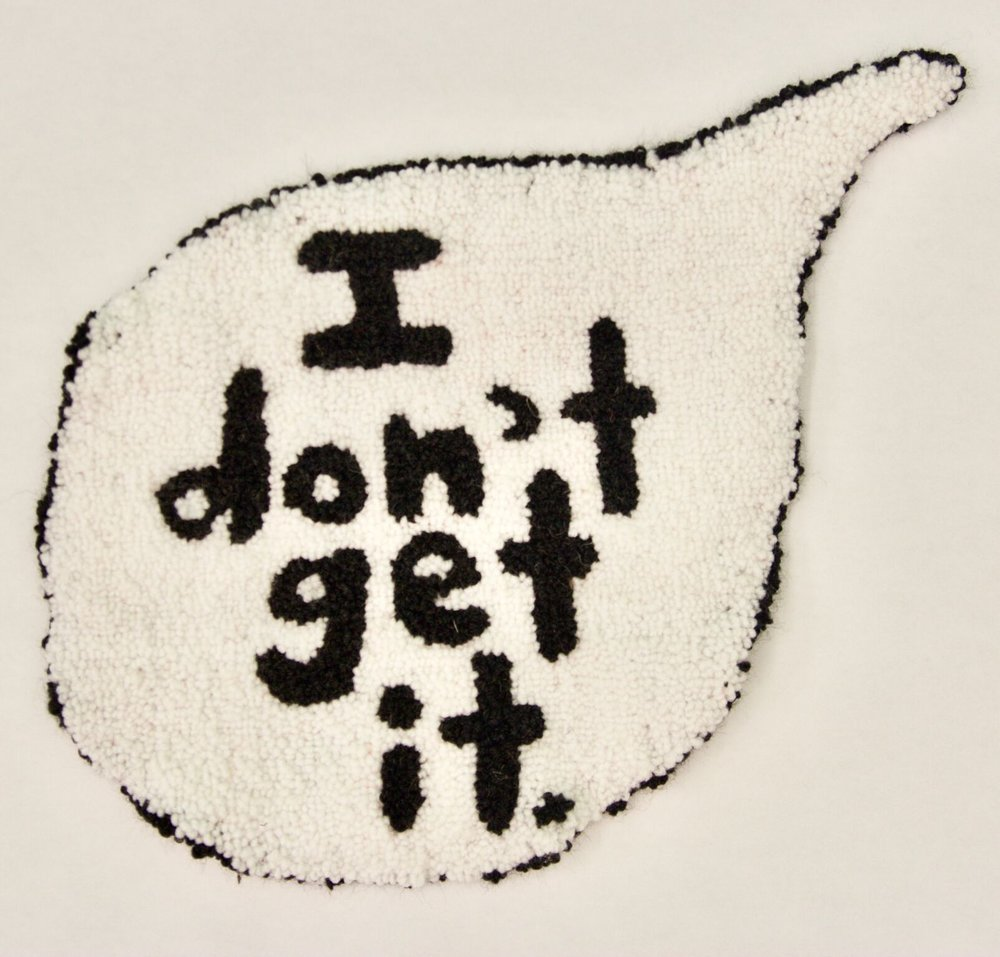 "i don't get it  acrylic, burlap  11"" x 13""  2015"