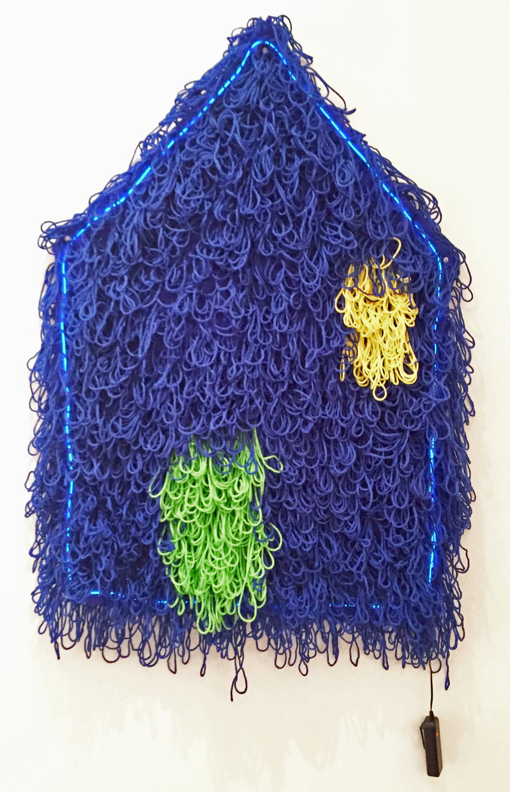 """This House Takes Double-A   Acrylic, Burlap, LED wire, 2 AA Batteries  39"""" X 25""""  2018"""