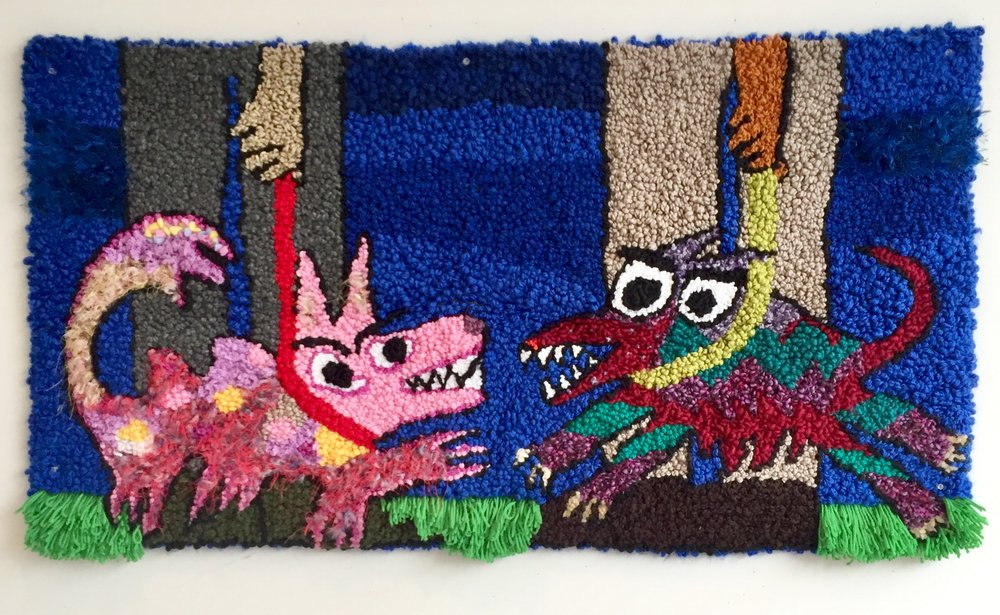 """Gallery Dogs   Acrylic, Wool, Polyester, Burlap  25"""" X 46""""  2018"""