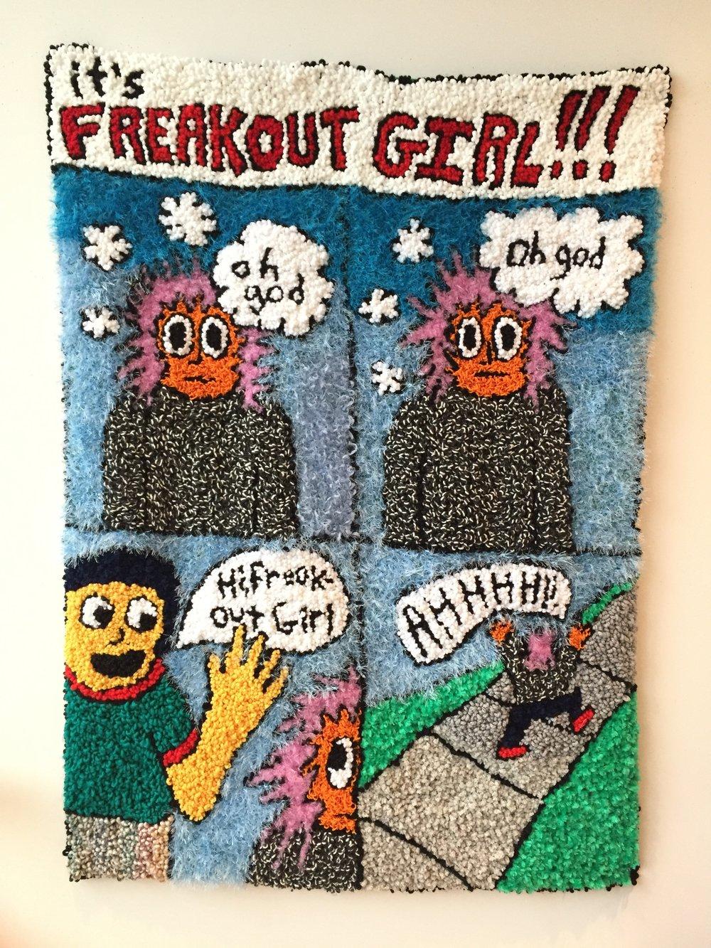 "Freakout Girl   Wool, Acrylic, Polyester, Burlap  59"" X 43""  2018"