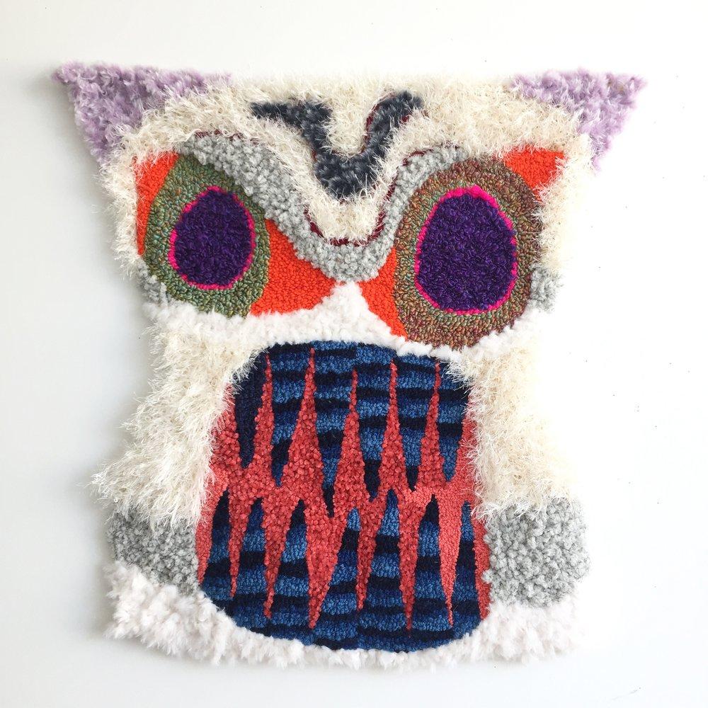 "Tiki Totem   Wool, Acrylic, Polyester, Burlap  30"" X 30""  2018"