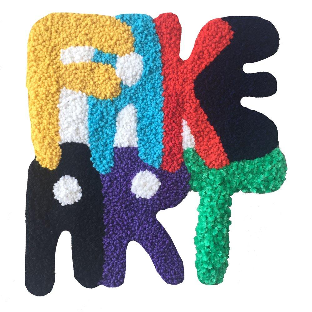 "Fake Art   Wool, Acrylic, Polyester, Burlap  29"" X 27""  2018"