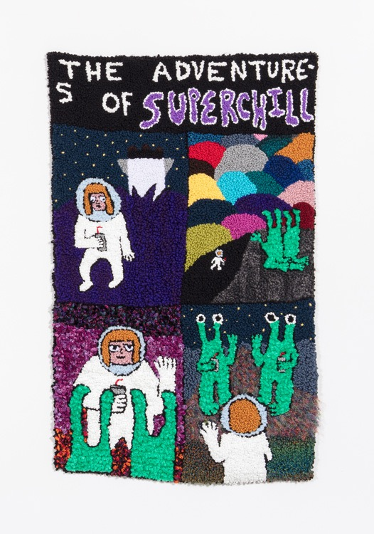 """Superchill (DYWAFTTOS?)Episode 2  Acrylic, Wool, Polyester, Burlap  69"""" X 44""""  2018"""