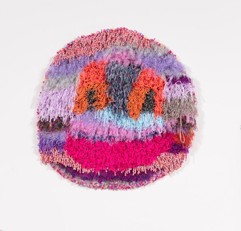 "Planet Friendly  Acrylic, Wool, Polyester, Nylon, Burlap  46"" X 47""  2018"
