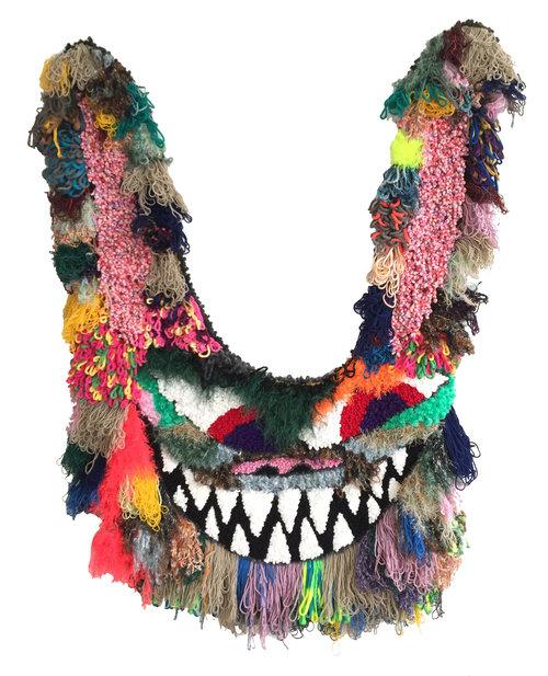 "Ya ZAZA  Wool, Acrylic, Polyester, Burlap  67"" X 45""  2018"