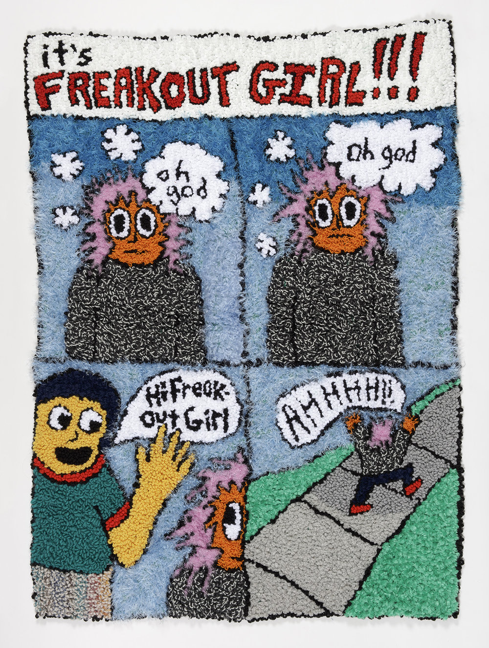 "Freakout Girl 1  Wool, Acrylic, Polyester, Burlap  59"" X 43""  2018"