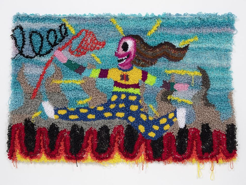 """Running Through Hell With A Butterfly Net  Wool, Acrylic, Polyester, Cotton, Burlap  46"""" X 68""""  2018"""