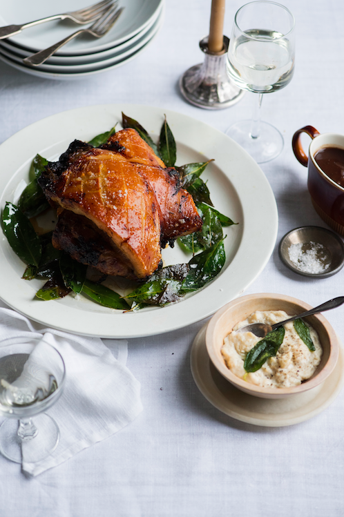 GRAZIA MAGAZINE CHRISTMAS SPREAD- PORCHETTA WITH FIG CHESTNUT AND SAGE STUFFING