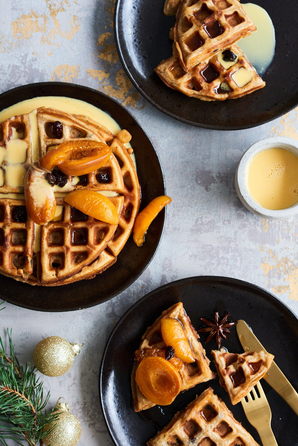 Panettone waffles with creme anglaise and drunken apricots