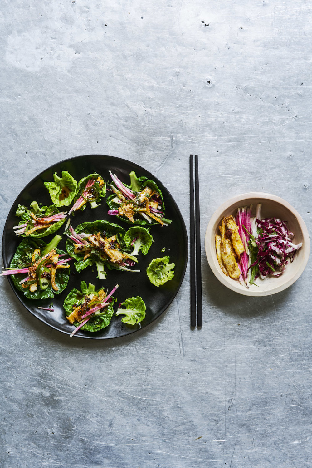 sprout top tofu bundles with herbs and chilli