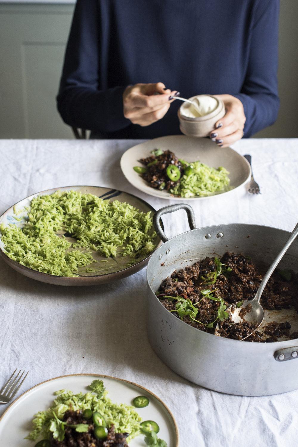Café Con Carne with Green Rice