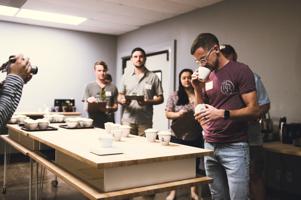 CUPPING COFFEE WITH HTX COFFEE COLLECTIVE - Cuppings with other coffee professionals helps us stay calibrated with the industry. Plus, it's really fun to get everyone together!