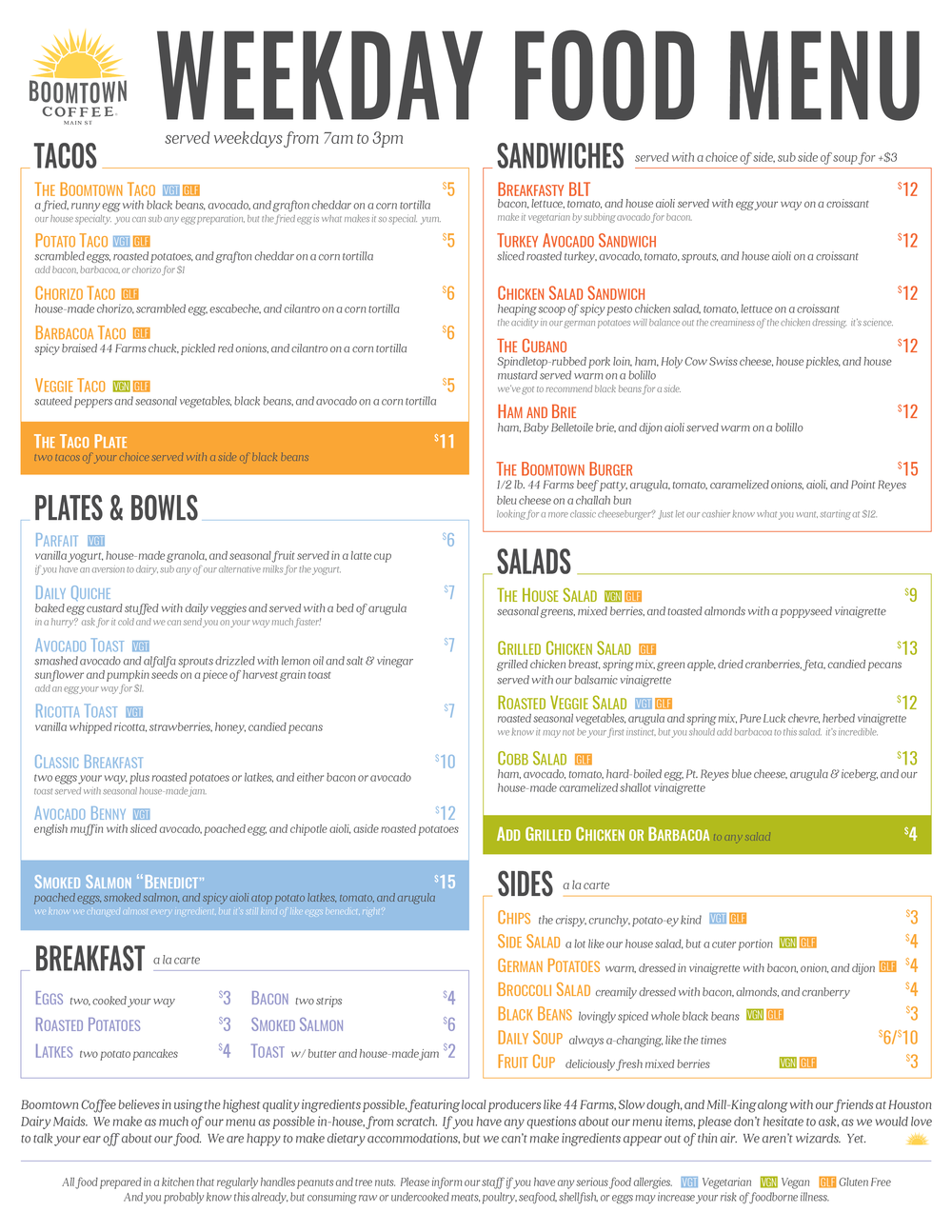 Main St. Food Menu 1