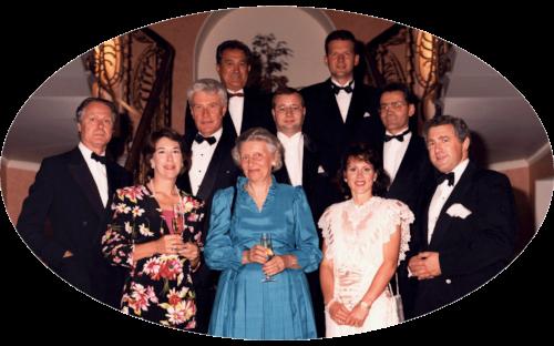 Baron Eric de Rothschild, Marcia Mondavi , Robert Drouhin, Don Ferrari Carano, Baroness Evelyne de Ladoucette of de Vogué, Marc Chapoutier, Jean Luc Pepin of de Vogué, Madam Carano, Bernhard Breuer, and Christopher Burr