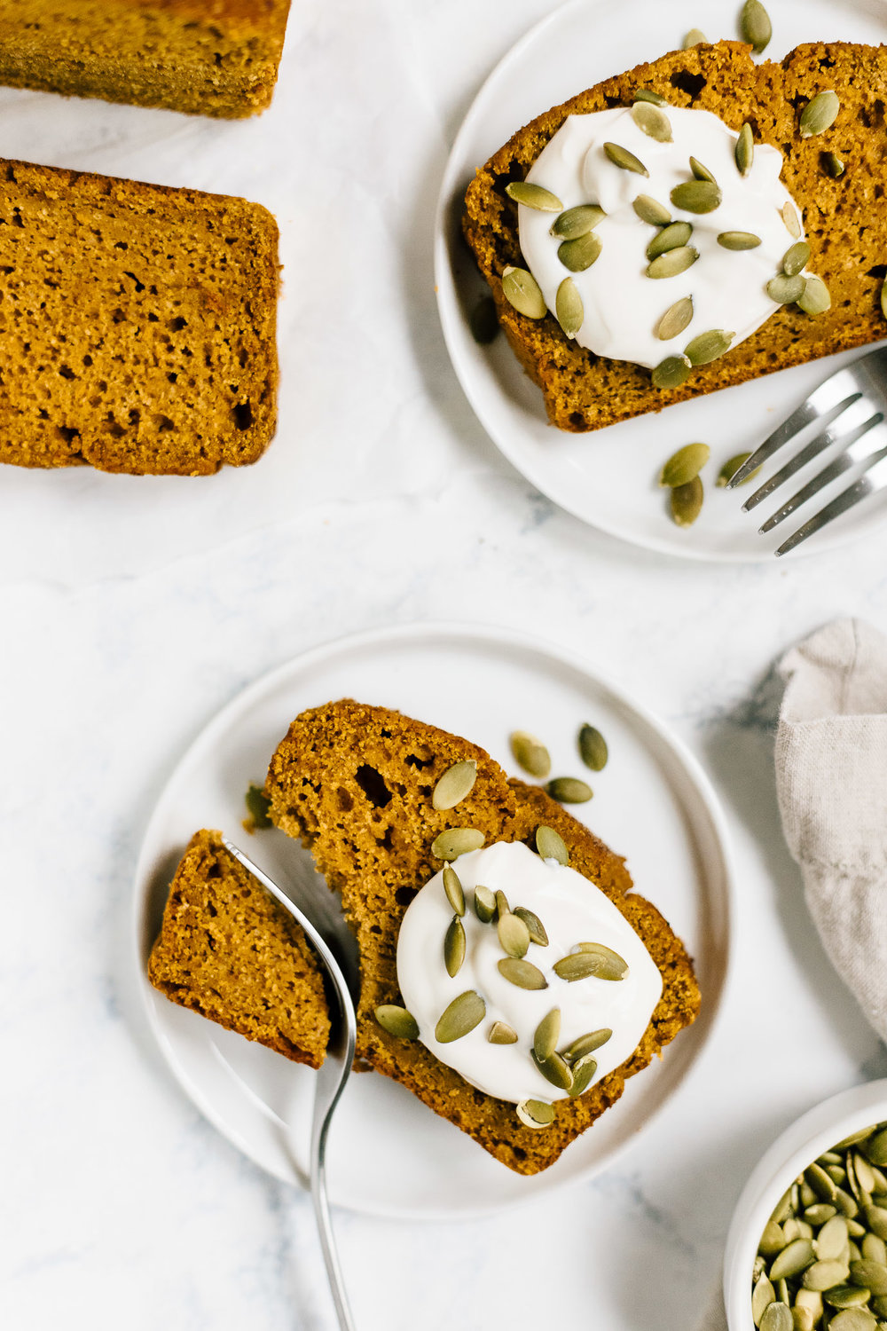 Healthy Pumpkin Bread Spelt Flour and Maple Syrup with Kite Hill Greek Yogurt