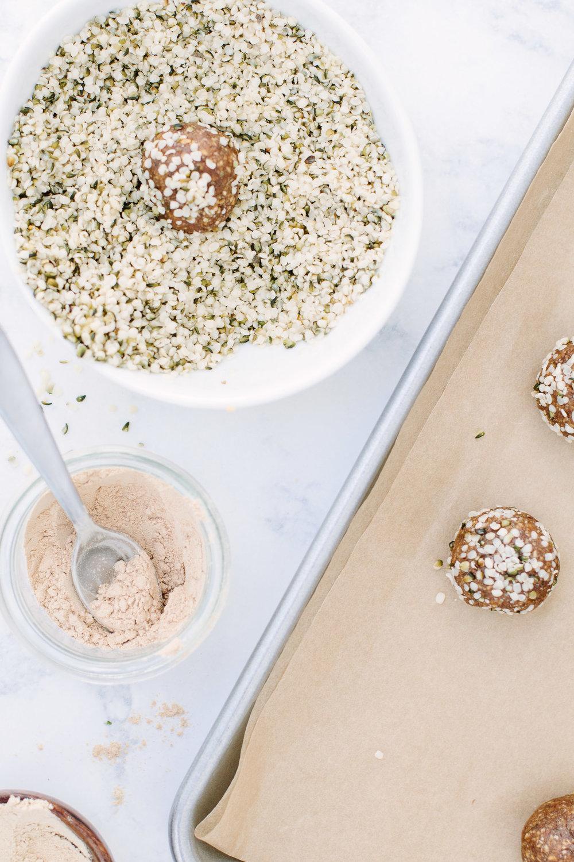 Adaptogen Snack Balls - rolled in hemp seeds