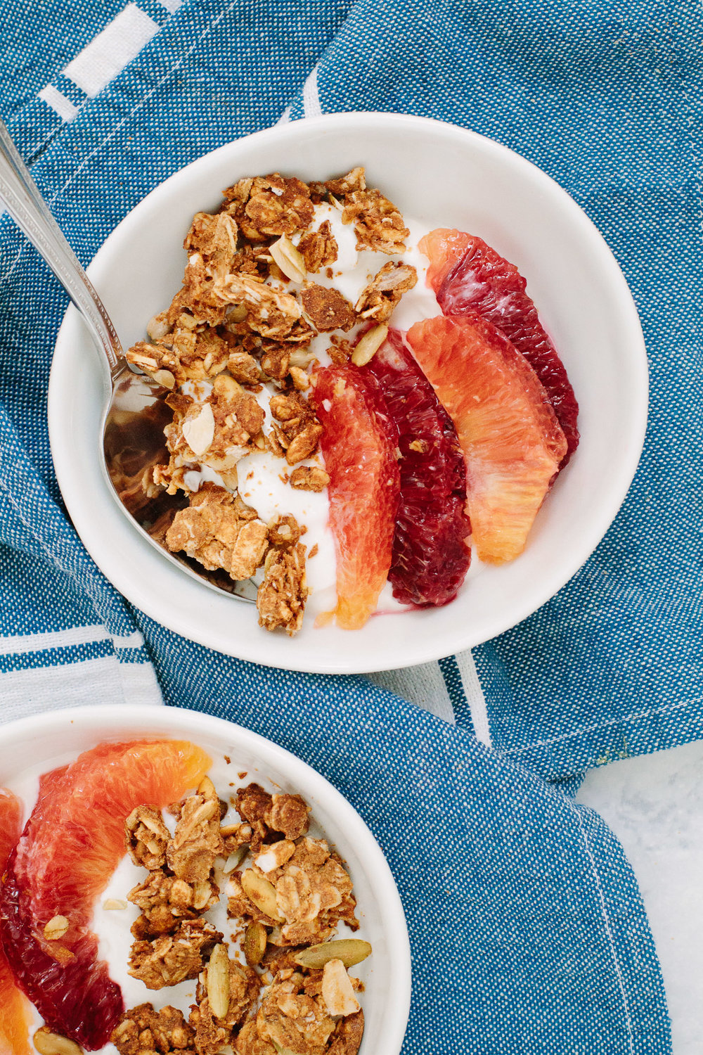 Yogurt, Blood Orange, and Extra Clumpy Granola Bowls