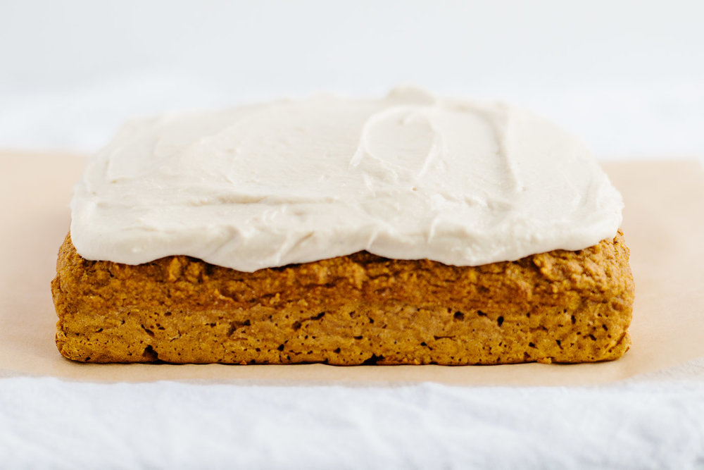 Pumpkin Snack Cake with Cashew Buttercream Frosting