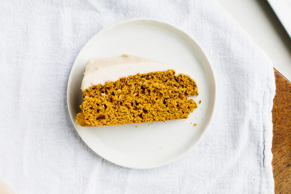 Vegan Pumpkin Snack Cake with Cashew Buttercream Frosting
