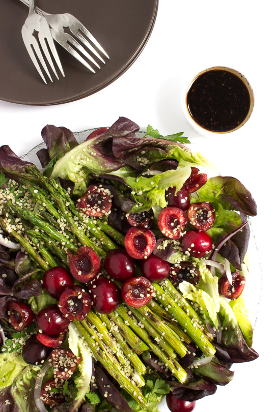 Salad with Cherries and Grilled Asparagus
