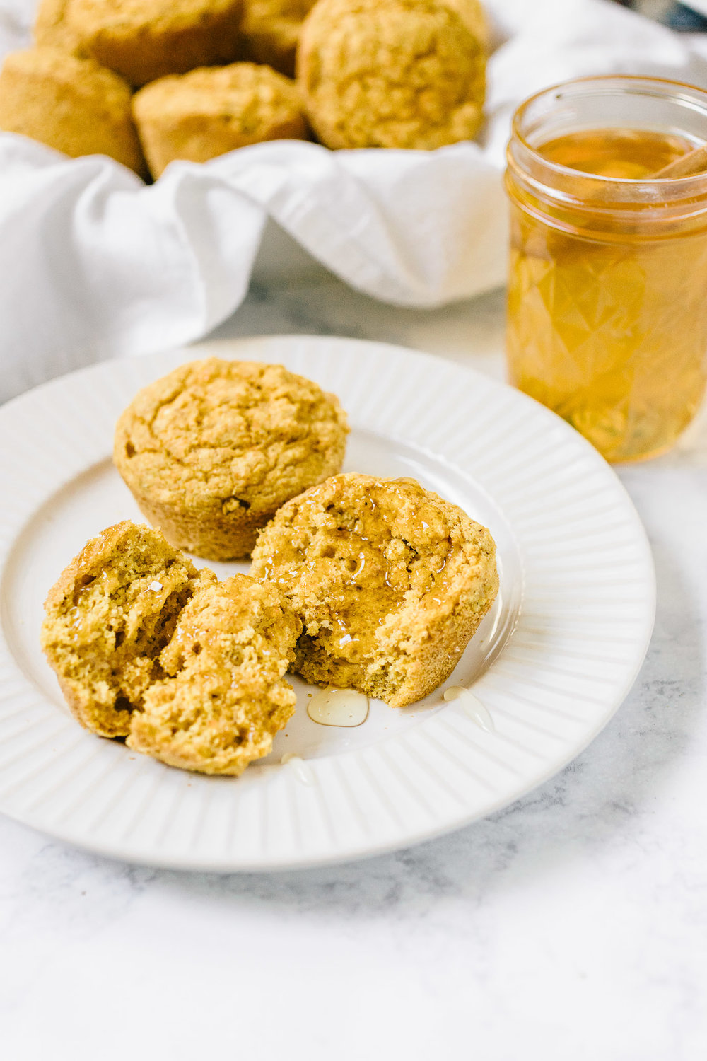 Vegan Maple Cornbread Muffins lightly sweetened with maple syrup. Gluten-free, Dairy-free.