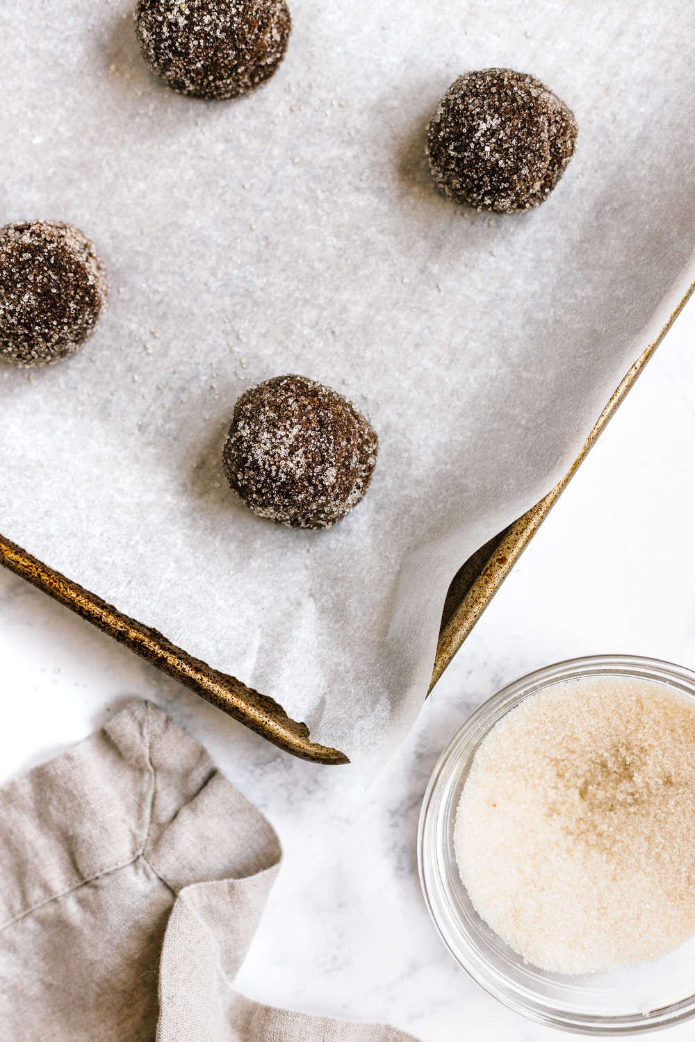 Flourless Almond Butter Molasses Cookies rolled in sugar