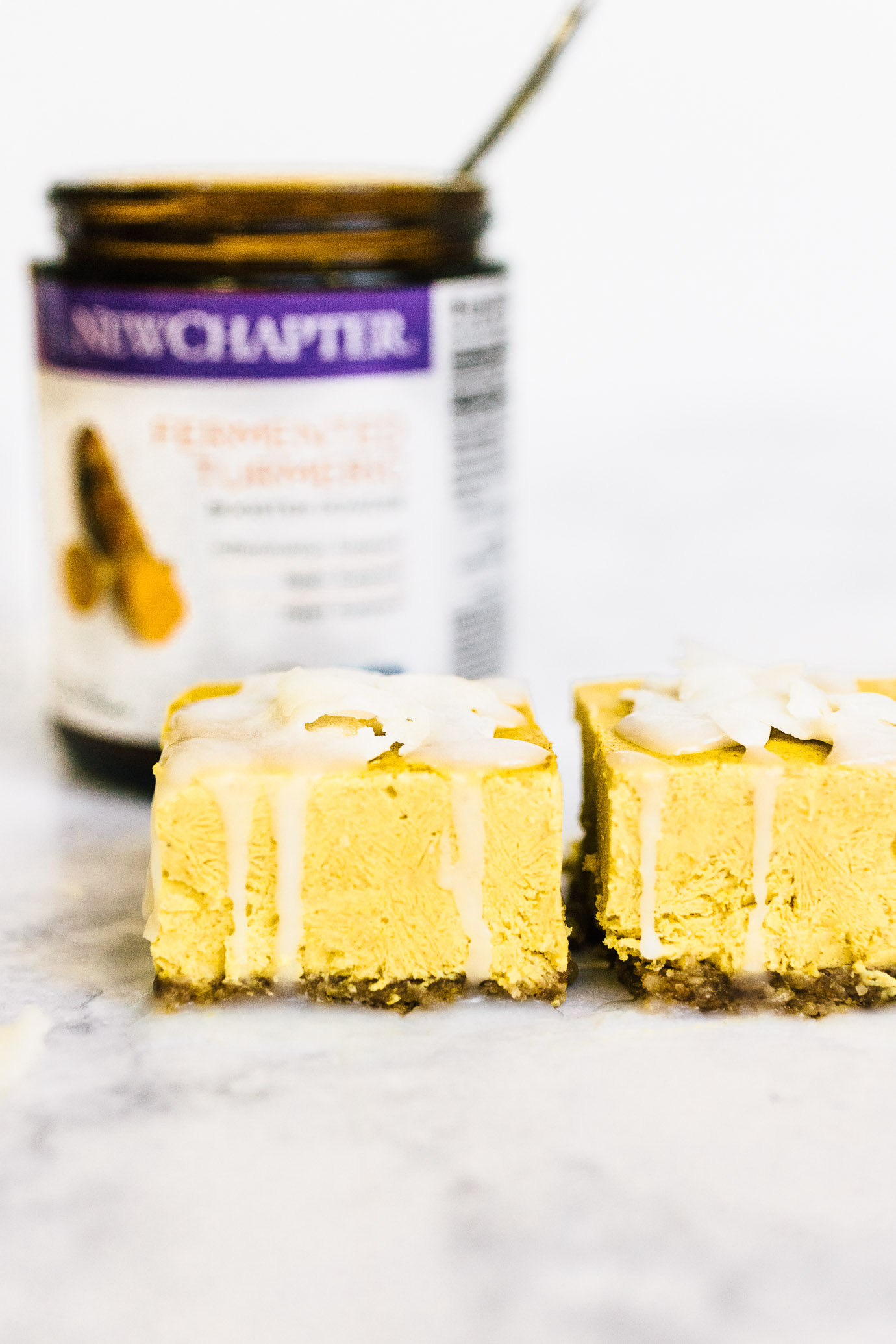 Golden Milk Cheesecake Bars with New Chapter Turmeric Booster