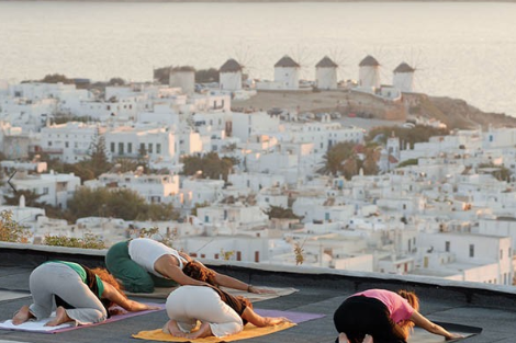 sunset yoga at mykonos castle