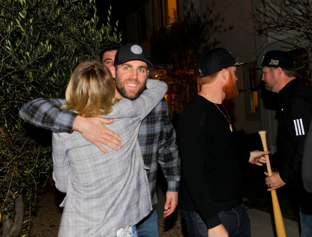 Chris Taylor's winning smile, and I spy with my little eye, Cody Bellinger behind him.