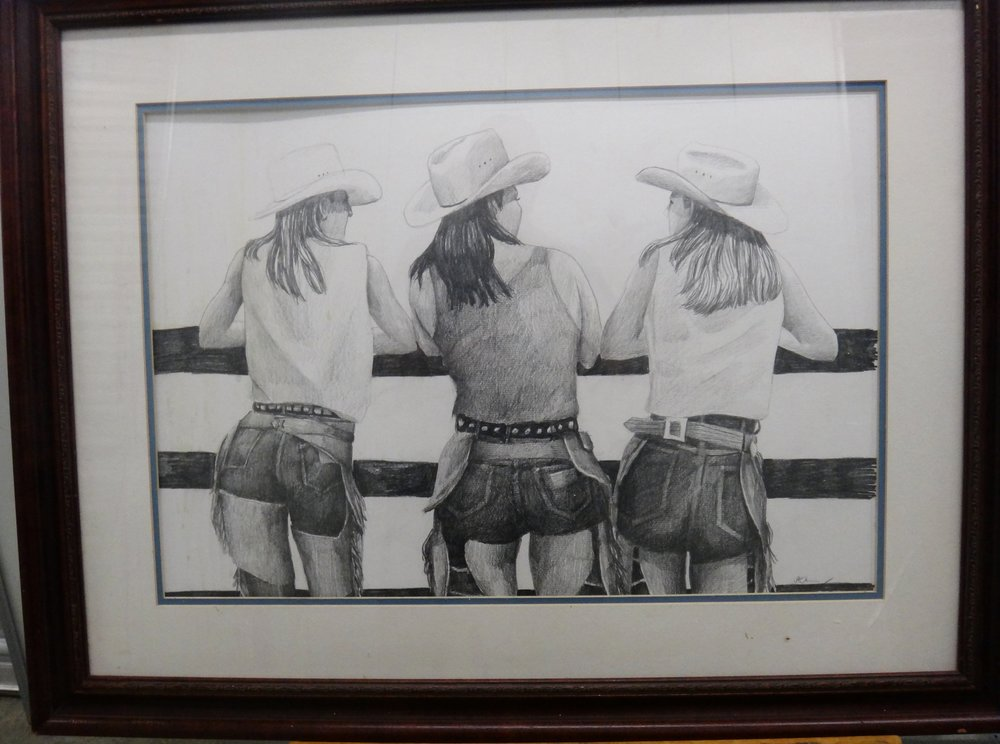 """Title: Cowgirls  Medium: Graphite on Paper  Dimensions: 16"""" x 24""""  Framed:Yes  Price: Contact for Inquiry"""
