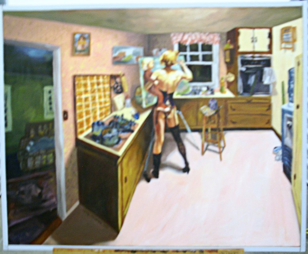"Title: She Can't Get Out Of The Kitchen  Medium: Oil on Canvas  Dimensions: 24"" x 30""  Framed: No  Price: Contact for Inquiry"
