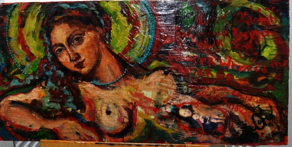 "Title:Untitled  Medium: Mixed on Wood  Dimensions: 17"" x 34""  Framed: No  Price: Contact for Inquiry"