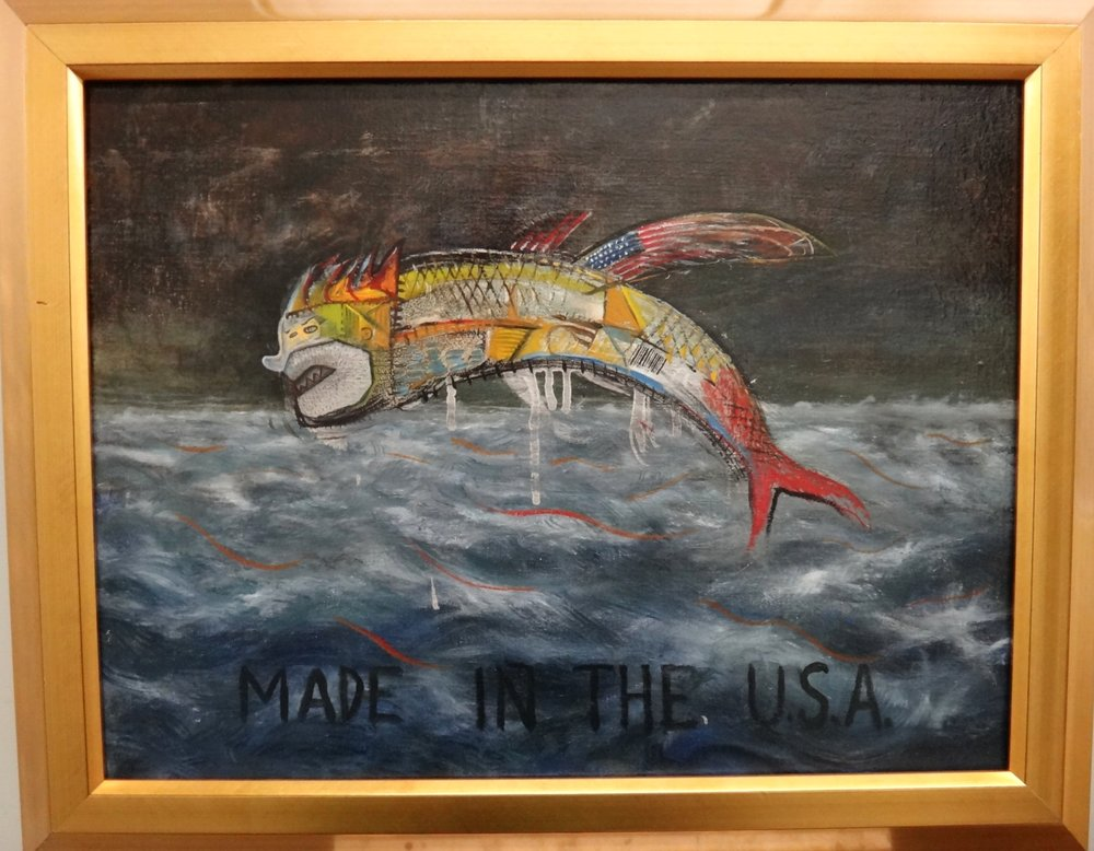 "Title: The Flying Fish  Medium: Oil on Liner  Dimensions: 15"" x 20""  Framed: Yes  Price: Contact for Inquiry"