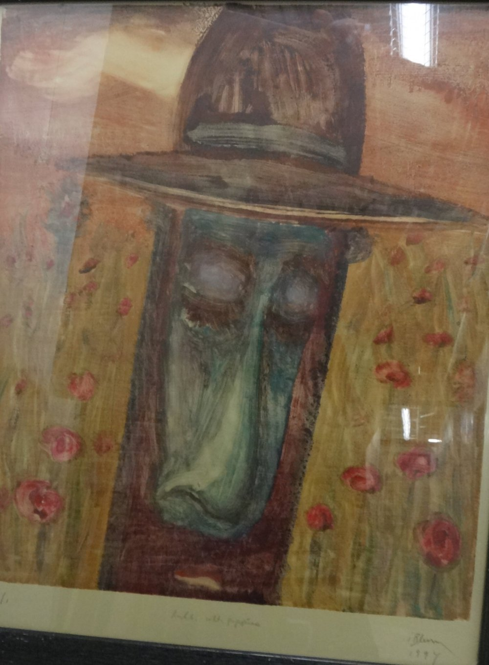 Title: Rabbi with Poppies  Medium: 1/1 Monoprint  Dimensions: Contact for Inquiry  Framed: Yes  Price: Contact for Inquiry