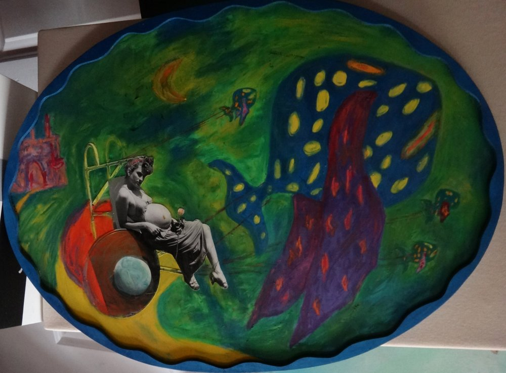 "Title: Land Of Water  Medium: Acrylic & Collage on Wood  Dimensions: ~14"" x ~18"" (Oval)  Framed: Yes  Price: Contact for Inquiry"