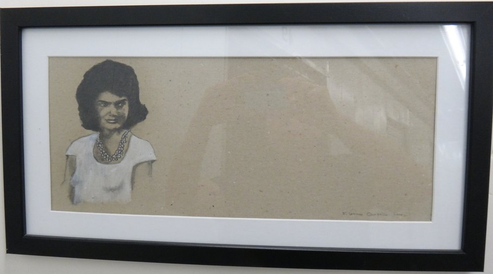 "Title: Jackie Alone  Medium:Graphite on Paper  Dimensions: 9 1/2"" x 19 1/2""  Framed: Yes  Price: Contact for Inquiry"