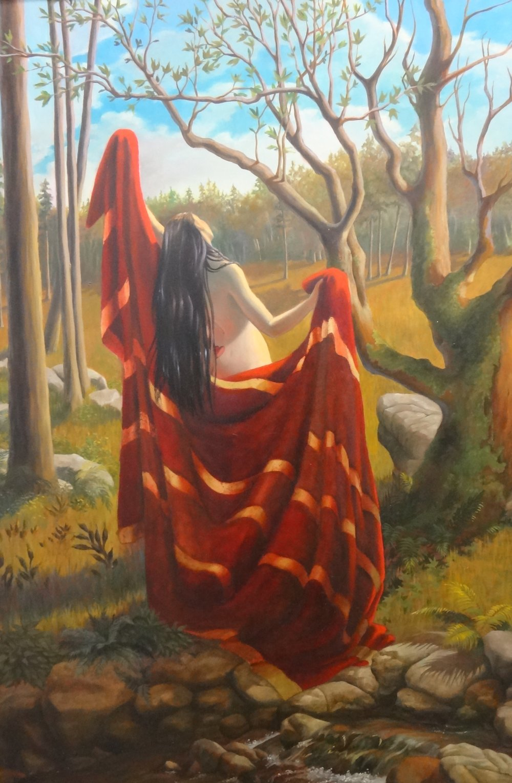 "Title:Sunday Nature Girl Appalachian  Artist:  Susan Makara   Medium: Acrylic on Canvas  Dimensions: 24"" x 36""  Framed: Yes  Price: Contact for Inquiry"