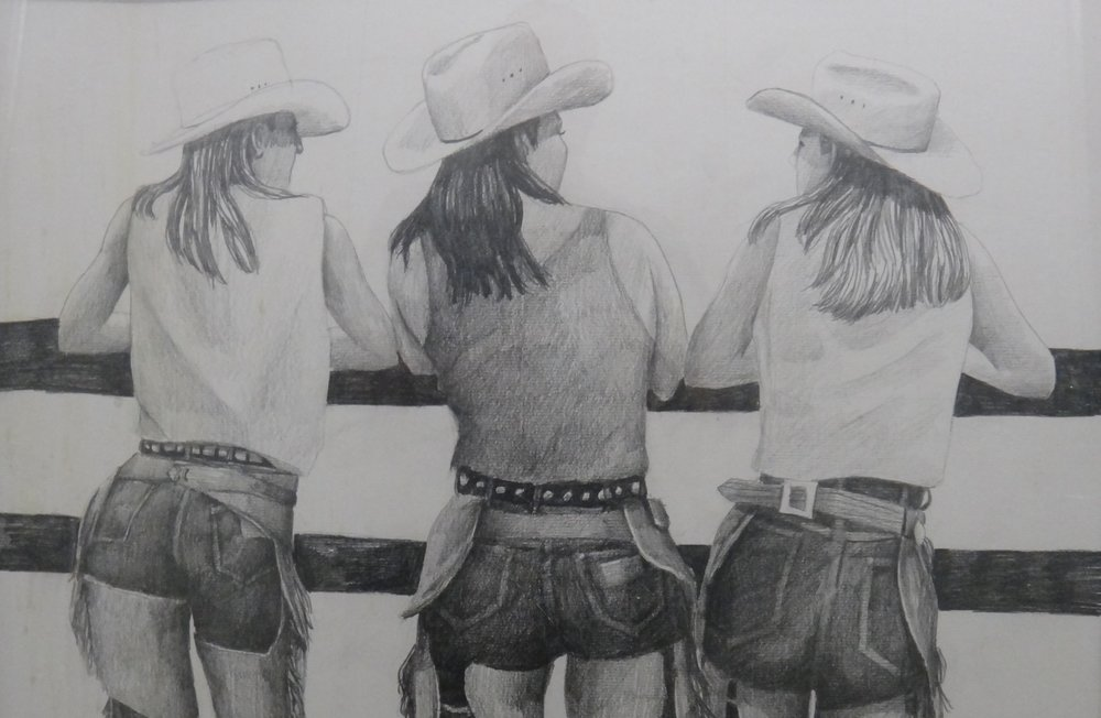 "Title: Cowgirls  Artist:  Unknown Artist   Medium: Graphite on Paper  Dimensions: 16"" x 24""  Framed:Yes  Price: Contact for Inquiry"
