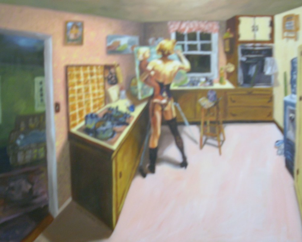 "Title: She Can't Get Out Of The Kitchen  Artist:  Jean Perkins   Medium: Oil on Canvas  Dimensions: 24"" x 30""  Framed: No  Price: Contact for Inquiry"