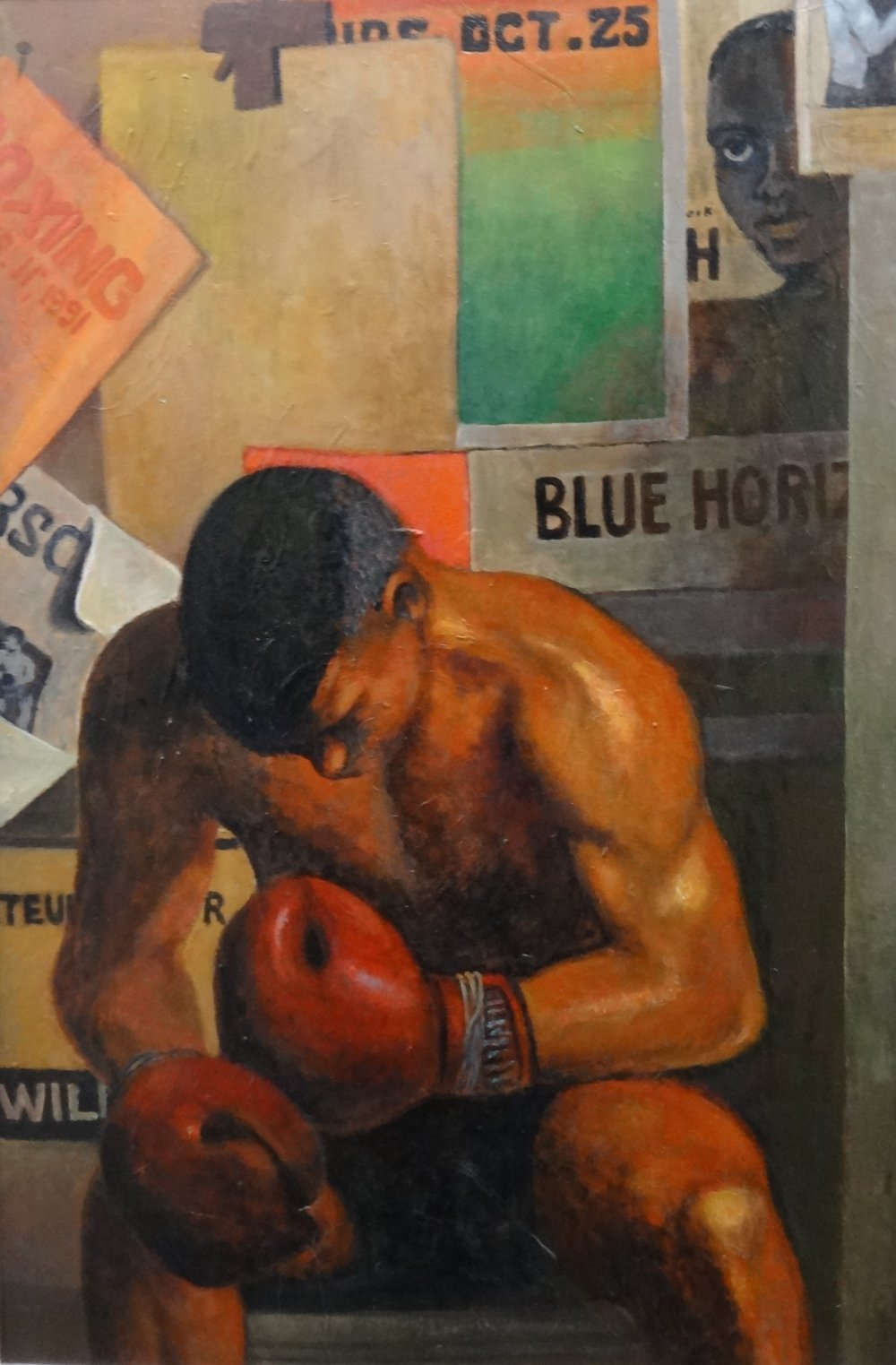 "Title: The Boxer  Artist:  Unknown Artist   Medium: Acrylic on Canvas  Dimensions: 36 1/2"" x 24 1/2""  Framed: Contact for Inquiry  Price: Contact for Inquiry"