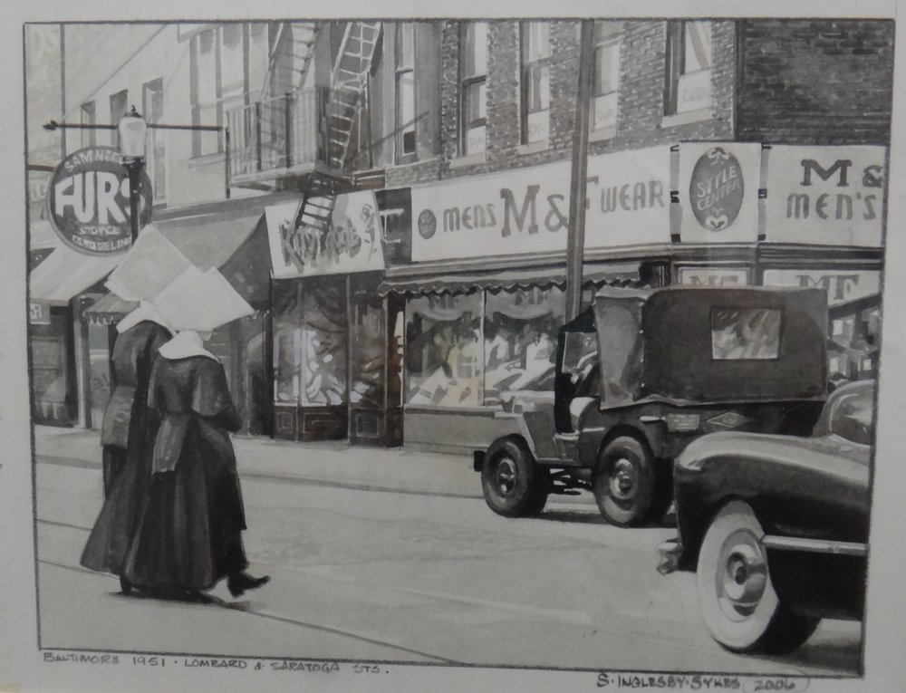"Title:Nuns on the Run May 1951  Artist:  Susan Sykes   Medium: Pencil on Paper  Dimensions: 8"" x 10""  Framed: Yes  Price: Contact for Inquiry"