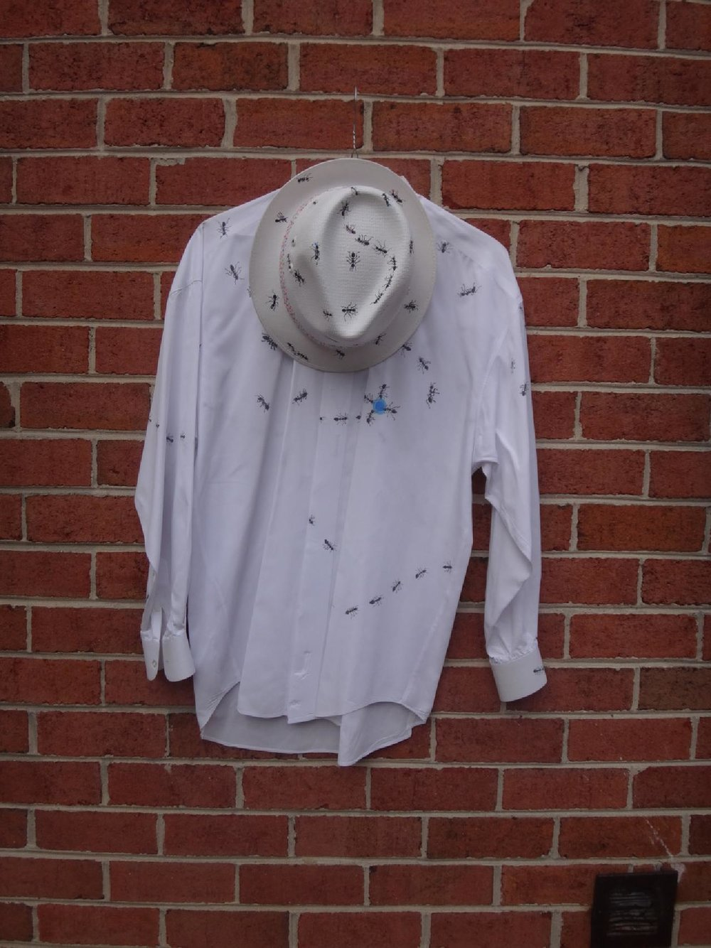 "Title: Ants, Hat and Shirt  Artist: Songmi Heart  Medium: Straw Hat & Cotton Shirt (Paint)  Dimensions: , Hat, 11"" Deep, 10"" Wide 5"" High  Shirt, Size Medium  Price: Contact for Inquiry"