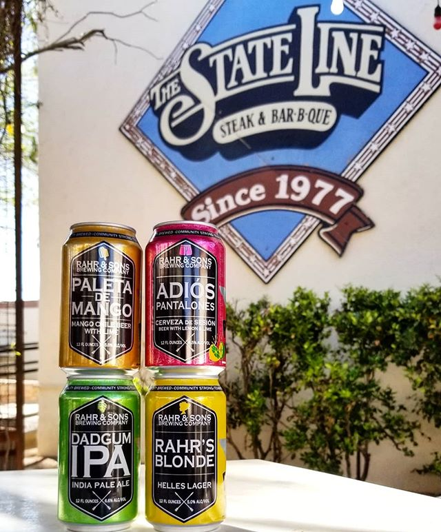 @rahrbrewing is now in New Mexico and we can't think of a better combo with your @statelinerestaurant BBQ. So come by and take a can next door or add it to your pick 6!  #cheers  #elpaso #itsallgoodep #craftbeer #epcraftbeer #elpasocraftbeer #drinkmorecraftbeer #drinkcraftbeer #beersofinstagram #beerpic #texasbeer #texasbeerinnewmexico #newmexico #paleta #texascraftbeer