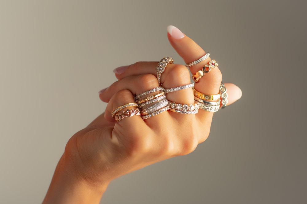 CJ David multi stacking rings
