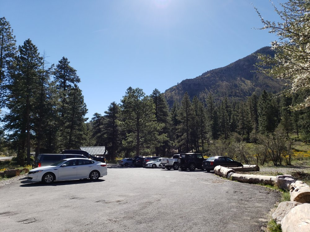 The parking area for Fletcher Canyon Trail. All parking spots were taken but there's more parking nearby.. A great spot to picnic or use the restroom since they have functioning bathrooms.