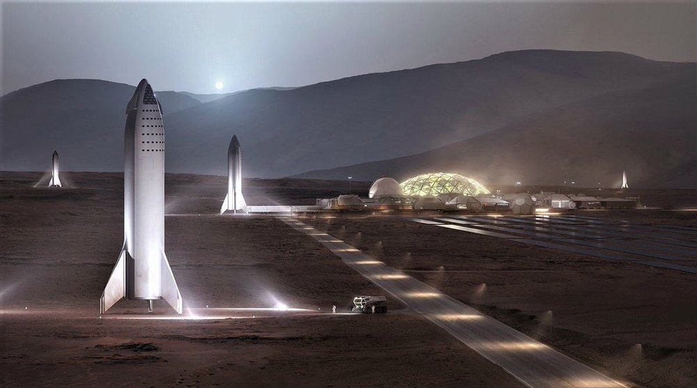 A design concept for the moon base of SpaceX.