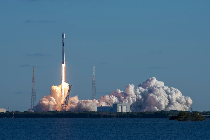 "Space X's Falcon 9 lifts off with ""Vespucci"" GPS 3 Satellite from Cape Canaveral, Florida. Credit: Space X"